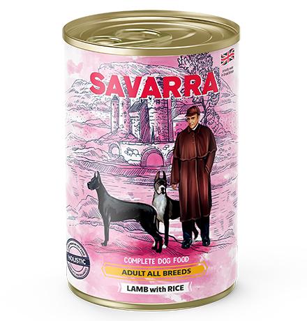 Savarra Adult All Breeds Lamb with Rice / Консервы Саварра для взрослых собак всех пород Ягненок с рисом (цена за упаковку)