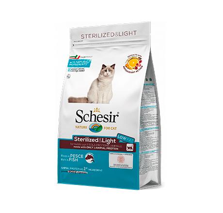 Schesir Adult Sterilized & Light Low Fat Fish / Сухой корм Шезир Низкокалорийный для взрослых Стерилизованных кошек с Избыточным весом Рыба