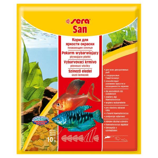 Sera San / Корм Сера для рыб Основной в хлопьях Улучшает окраску