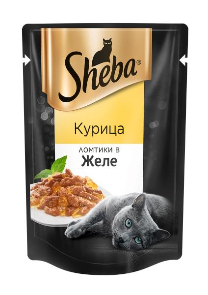 Sheba / Паучи Шеба для кошек Курица ломтики в Желе (цена за упаковку)