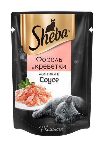 Sheba Pleasure / Паучи Шеба для кошек Ломтики в соусе с Форелью и Креветками (цена за упаковку)