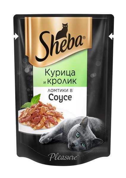 Sheba Pleasure / Паучи Шеба для кошек Ломтики в соусе из Курицы и Кролика (цена за упаковку)