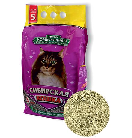 Сибирская Кошка / Наполнитель для кошачьего туалета для Длинношерстных кошек Экстра Комкующийся