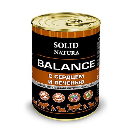 Solid Natura Balance / Консервы Солид Натура для собак Сердце и печень (цена за упаковку)