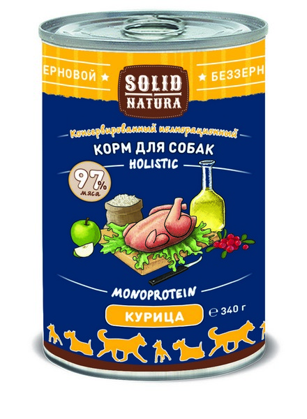 Solid Natura Holistic Monoprotein / Консервы Солид Натура Беззерновые для собак Курица (цена за упаковку)