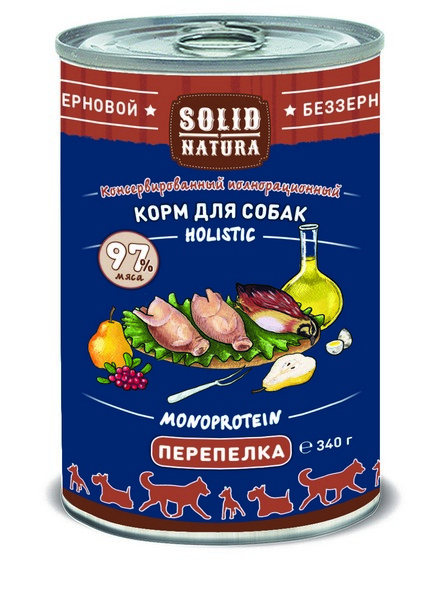 Solid Natura Holistic Monoprotein / Консервы Солид Натура Беззерновые для собак Перепёлка (цена за упаковку)