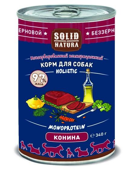 Solid Natura Holistic Monoprotein / Консервы Солид Натура Беззерновые для собак Конина (цена за упаковку)