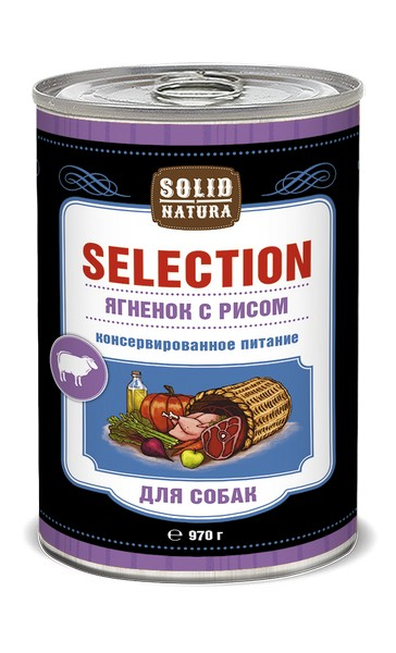 Solid Natura Selection / Консервы Солид Натура для собак Ягненок с рисом (цена за упаковку)