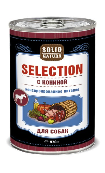 Solid Natura Selection / Консервы Солид Натура для собак Конина (цена за упаковку)