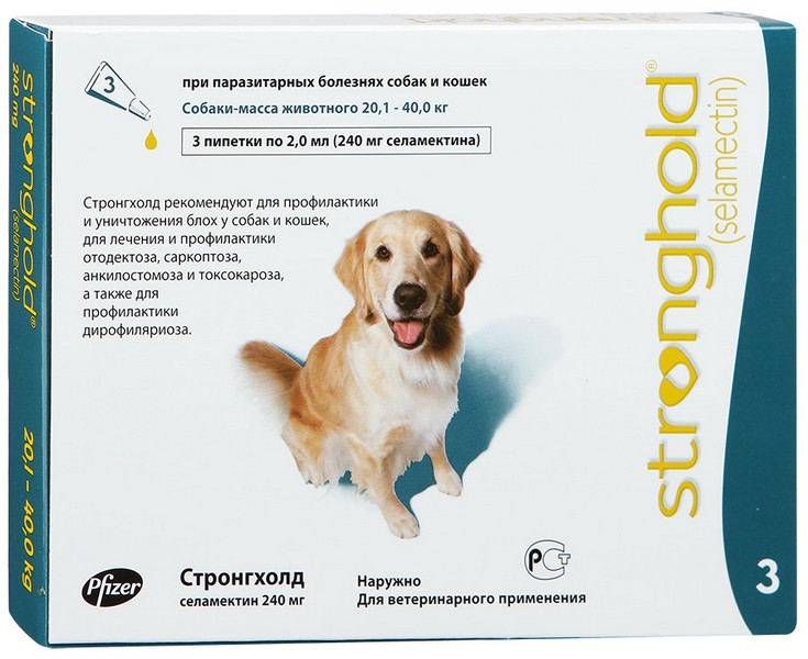 Zoetis Stronghold / Капли Стронгхолд Инсектоакарицидные для собак весом от 20 до 40 кг 12% 240мг