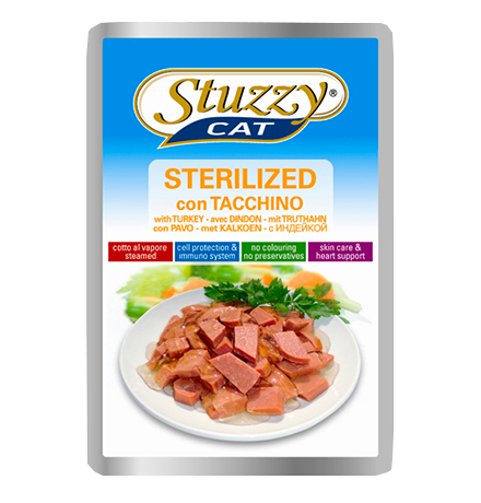 Stuzzy Sterilized Tacchino / Паучи Штуззи для Стерилизованных кошек (цена за упаковку)