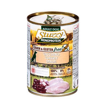 Stuzzy Monoprotein Grain & Gluten free Tacchino / Консервы Штуззи Монопротеиновые для собак Индейка (цена за упаковку)