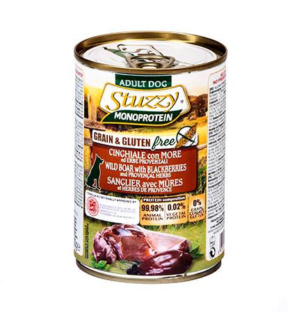Stuzzy Monoprotein Grain & Gluten free Cinghiale & More / Консервы Штуззи Монопротеиновые для собак Дикий Кабан с Ежевикой (цена за упаковку)