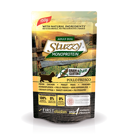 Stuzzy Monoprotein Grain & Gluten free Pollo Fresco / Паучи Штуззи Монопротеиновые для собак Свежая Курица (цена за упаковку)