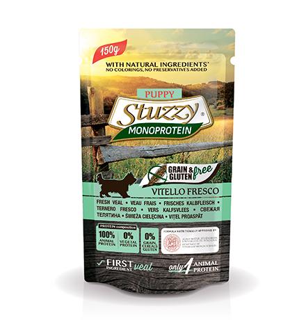 Stuzzy Monoprotein Grain & Gluten free Vitello Fresco / Паучи Штуззи Монопротеиновые для Щенков Свежая Телятина (цена за упаковку)