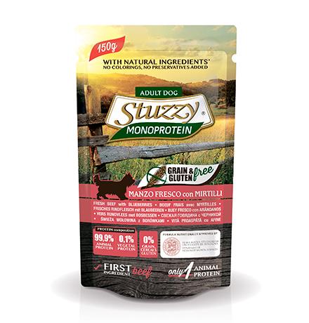 Stuzzy Monoprotein Grain & Gluten Manzo & Martilli / Паучи Штуззи Монопротеиновые для собак Свежая Говядина с Черникой (цена за упаковку)