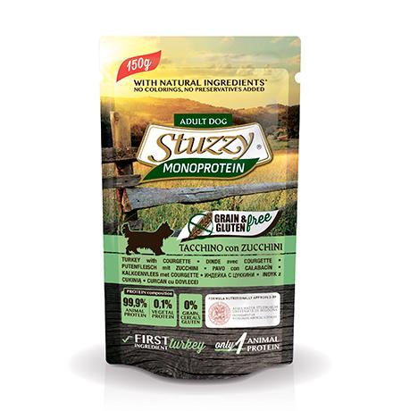 Stuzzy Monoprotein Grain & Gluten free Tacchino & Zucchini / Паучи Штуззи Монопротеиновые для собак Индейка с Цуккини (цена за упаковку)