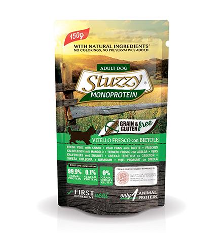 Stuzzy Monoprotein Grain & Gluten Vitello & Bietole / Паучи Штуззи Монопротеиновые для собак Свежая Телятина со Свеклой (цена за упаковку)