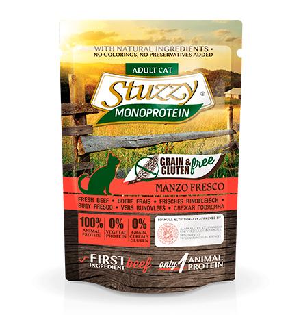 Stuzzy Monoprotein Grain & Gluten free Manzo / Паучи Штуззи Монопротеиновые для кошек Свежая Говядина (цена за упаковку)