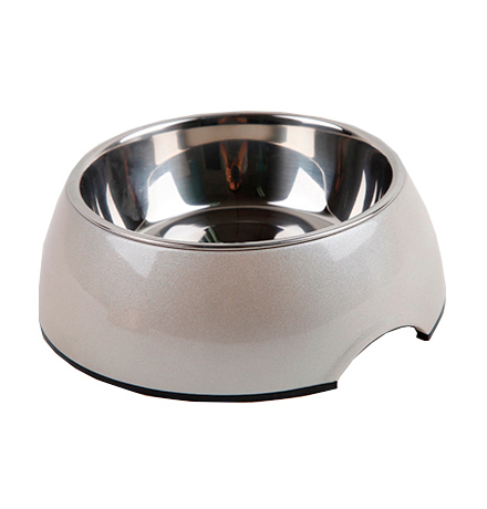 SuperDesign Metallic Bowl M White / Миска Супер Дизайн на меламиновой подставке Металлик Белая