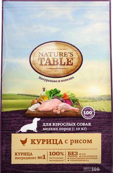 Natures Table / Сухой корм Нейчерс Тейбл для взрослых собак Мелких пород Курица с рисом