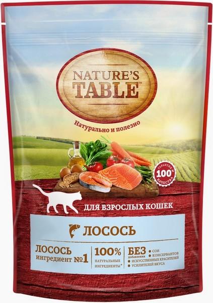 Natures Table / Сухой корм Нейчерс Тейбл для взрослых кошек Лосось