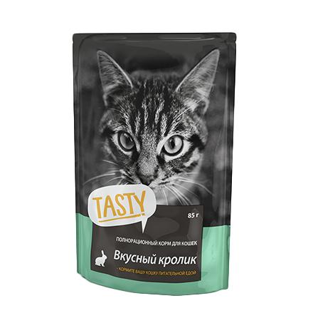 Tasty / Паучи Тейсти для кошек Вкусный Кролик в желе (цена за упаковку)
