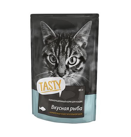 Tasty / Паучи Тейсти для кошек Вкусная Рыба в желе (цена за упаковку)