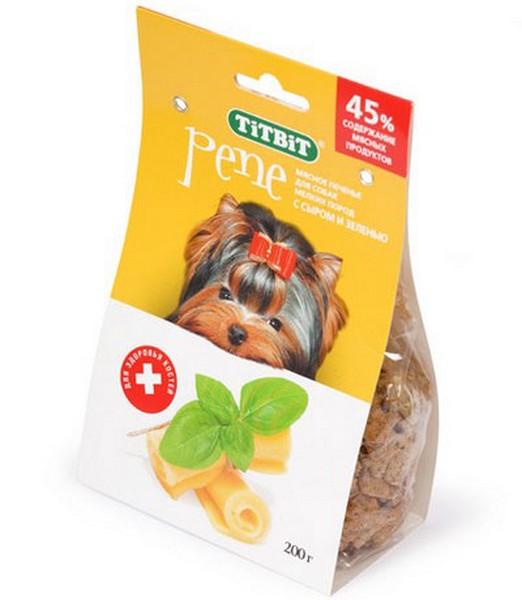 Titbit Pene / Мясное печенье Титбит для собак Мелких пород с Сыром и Зеленью для Дрессуры