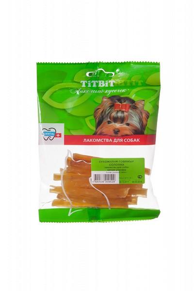 Titbit Dental+ Лакомый кусочек / Лакомство Титбит для собак Сухожилия говяжьи Соломка для Чистки зубов
