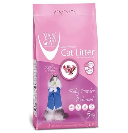 Van Cat Baby Powder / Комкующийся наполнитель Ван Кэт для кошачьих туалетов Без пыли с ароматом Детской присыпки