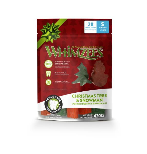 Whimzees Christmas Tree & Snowman / Лакомство Вимзис для собак весом от 7 до 12 кг