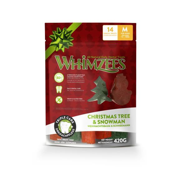 Whimzees Christmas Tree & Snowman / Лакомство Вимзис для собак весом от 12 до 18 кг