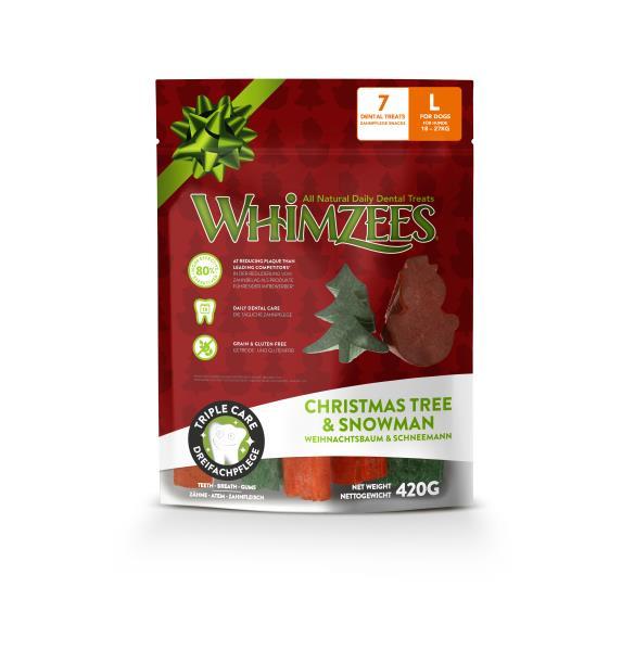 Whimzees Christmas Tree & Snowman / Лакомство Вимзис для собак весом от 18 до 27 кг