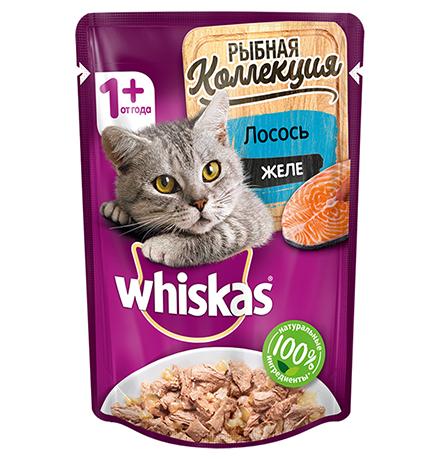 Whiskas Мясная коллекция / Паучи Вискас для взрослых кошек Лосось желе (цена за упаковку)