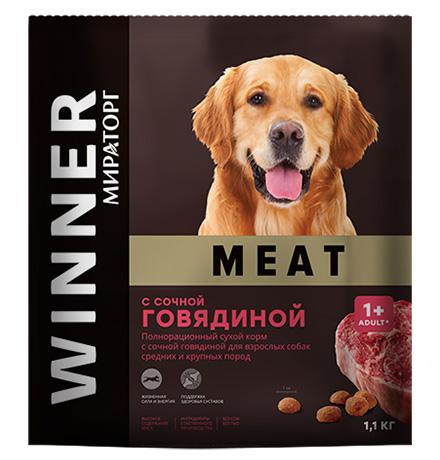 Winner Meat / Сухой корм Винер для взрослых собак Средних и Крупных пород с сочной Говядиной