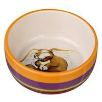 Trixie / Миска Трикси для кролика Керамическая  Разноцветно-кремовая